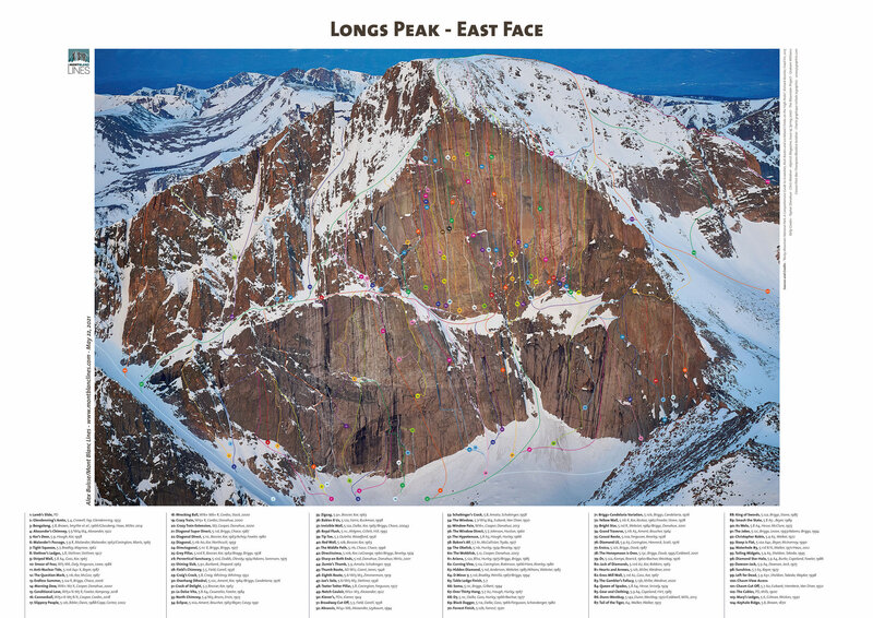 Every single route on the east face of Long's Peak. A full caption is in comments.