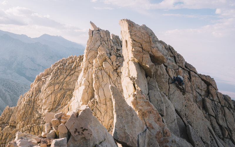 Looking back on the second half of the ridge traverse as I belay my partner up