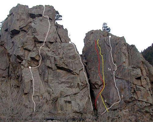 Third Buttress<br> 1. Standard Route (7+).<br> 2. West Face (7).<br> <br> Fourth Buttress<br> 3. Flake (10c).<br> 4. Zolar Czakl (10a).<br> 5. Northwest Face (8+).