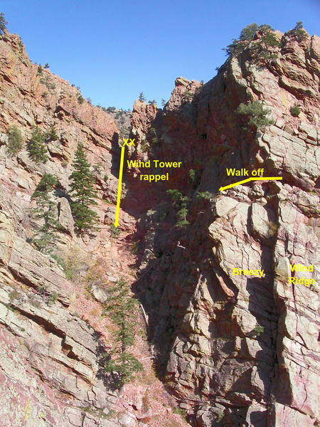 Wind Tower descents.  You can walk off from the top of the second pitch of Wind Ridge or Breezy.  From the summit, traverse to the notch and do a single-rope rappel to the descent trail.