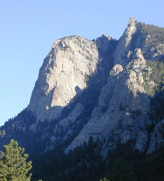 From the trail near the Book. The Nose is located on the line between sun and shade.