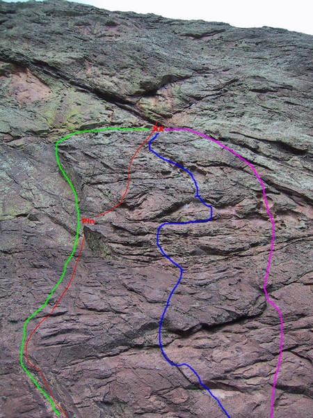 Bulge P1 variations: Green, Shades of Grey (5.9 R), Red: Bulge Var2 (5.7 R), Blue: Bulge Var1 (5.6 PG), Purple: Bulge V3 (5.7 R) [Photo by G. Bell, Lines by L. Paik]
