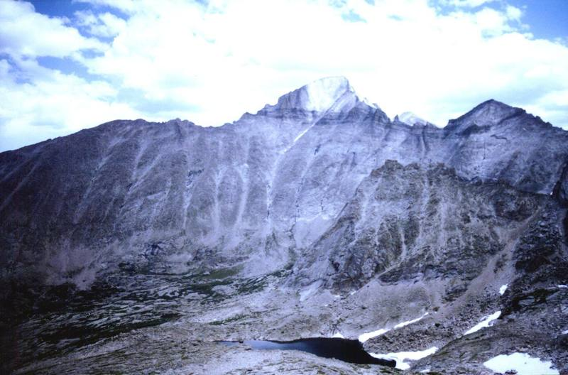 Long's west face as seen from Stoneman Pass.  Check out Spearhead, it looks small next to Long's.