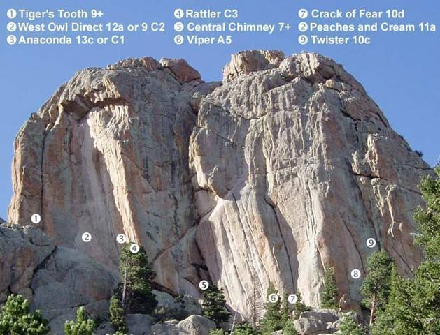 The Owls West face routes.