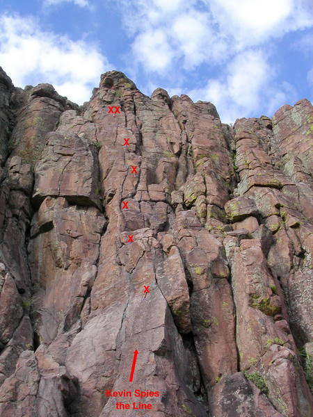 Kevin Spies the Line.  The climb is 5.6 to 5.8 depending on the line you take.