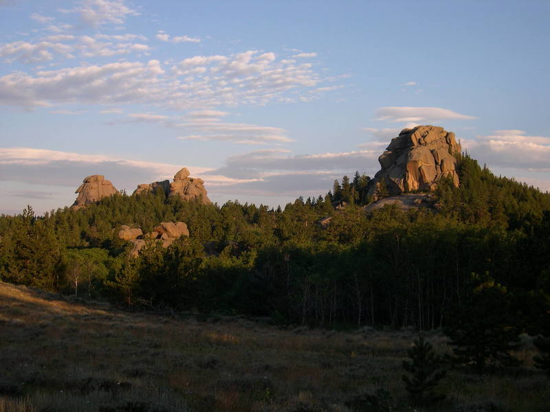 View from the West looking towards Spectreman.  Spectreman is on the right hand buttress in the photo and is formed by the large block leaning against the wall.