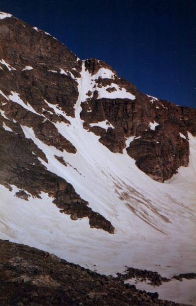 Superstar Couloir, James Peak, RMNP/Alpine 6/23/98.