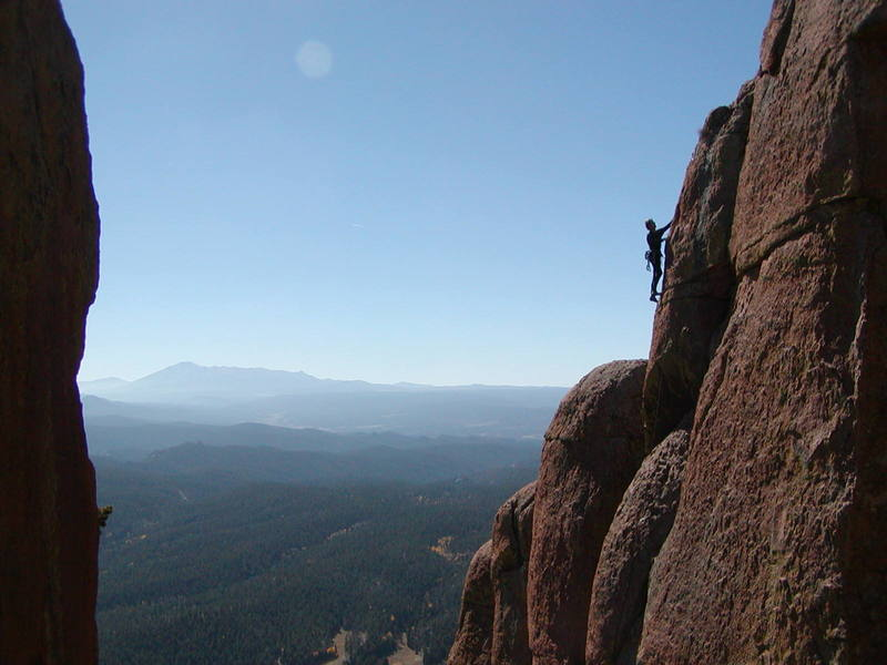 Tod Anderson on The Citadel, fall of 2003, looking South towards Pikes Peak.
