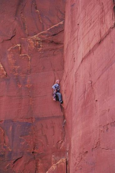 Ben Faber on pitch 1 of the Priest, Castle Valley.  Photo: Kevin Cropp.