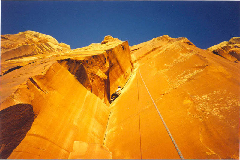 Tom Rose on Incredible Hand Crack, close to sunset