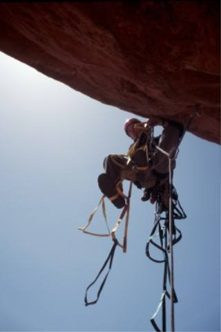 Mark leading the Bandito Route, Mexican Hat