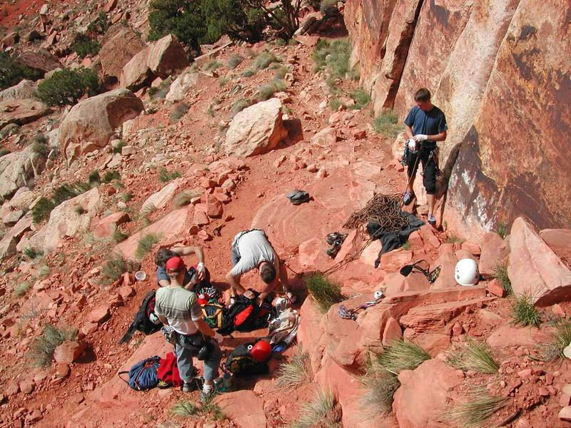 Racking up and getting ready to climb.  Photo: Myke K.