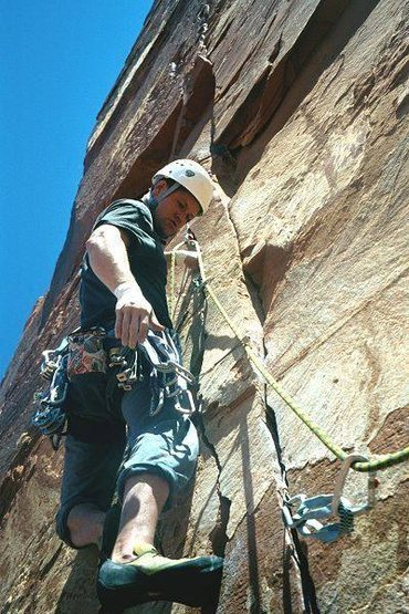 Eric Everson on the crux pitch of Jah Man.