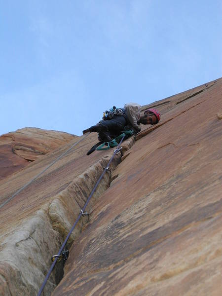 Rocco fires the clean aid ascent (C2+) on the headwall (Pitch 13).