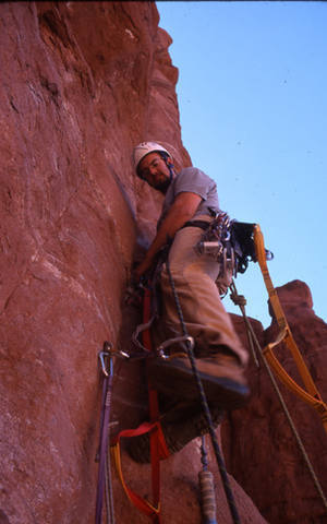 Ryan Sayers leading the crux 2nd pitch