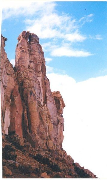 Veiw of Belfry Tower . San Rafael Swell . Weasel Formation.South Face. Brits is on the North side