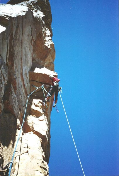 P.Ross on Pitch 2. First Ascent North Face of Dreamspeaker Spire