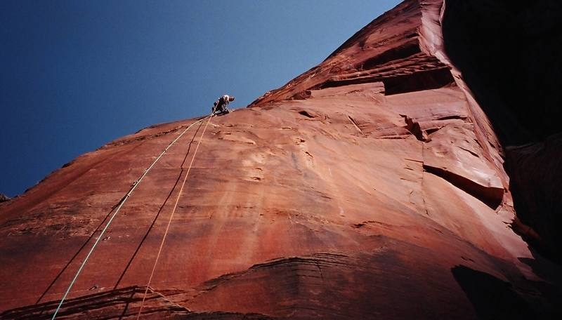 Climbing up the first aid pitch. Photo by Luke Taylor.