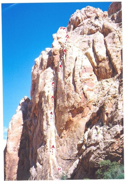 """Photo of the route in Uneva Mine Canyon... """"Slab Not"""" 5.9-"""