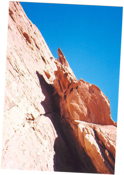 Ross on crux section of pitch 3