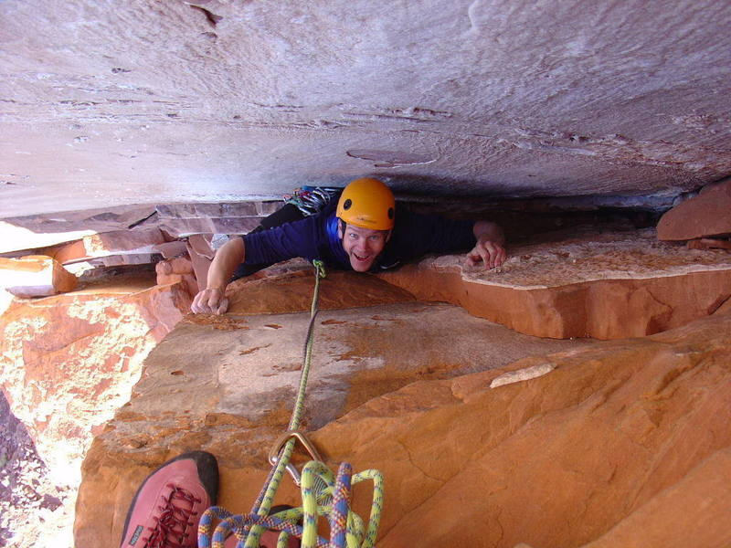 Anders stuck in the chimney on pitch one. The Euro sport climber is still having fun in the chimneys!