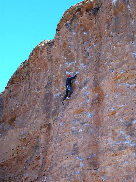 The route. The crux is moving left to a hidden pocket and through the steep finish.