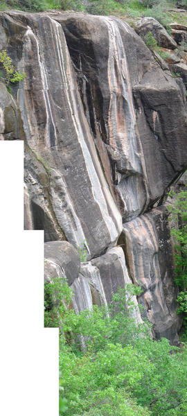 Reckon-So is the inset slab to the left of the crack. <br> Mickey Mantel is the route to the right of the crack.