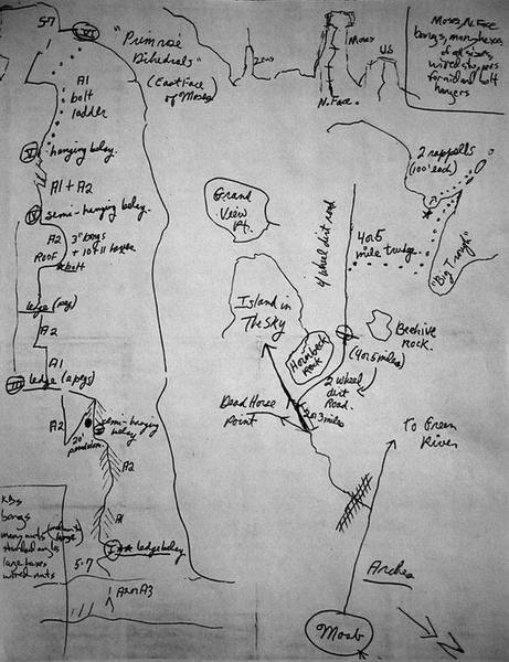 Ed Webster's original topo before he freed the route, showing the original approach.  I've included this for historical interest.