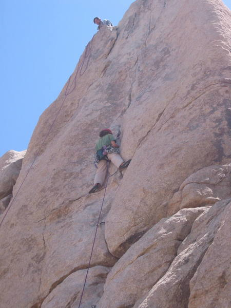 Karen from Ventura on her first 5.8 trad lead.
