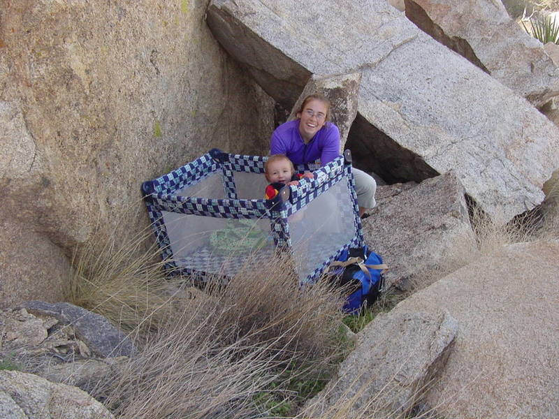 Tara and Quinlan at the base of the climb.