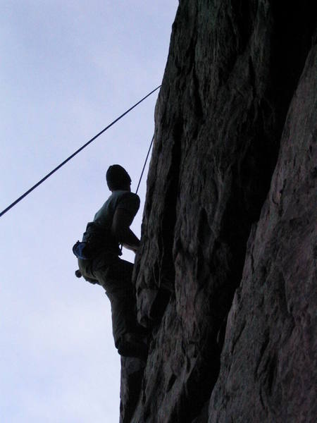 Rich pulling through a tough spot on Ladyfingers to better holds above.