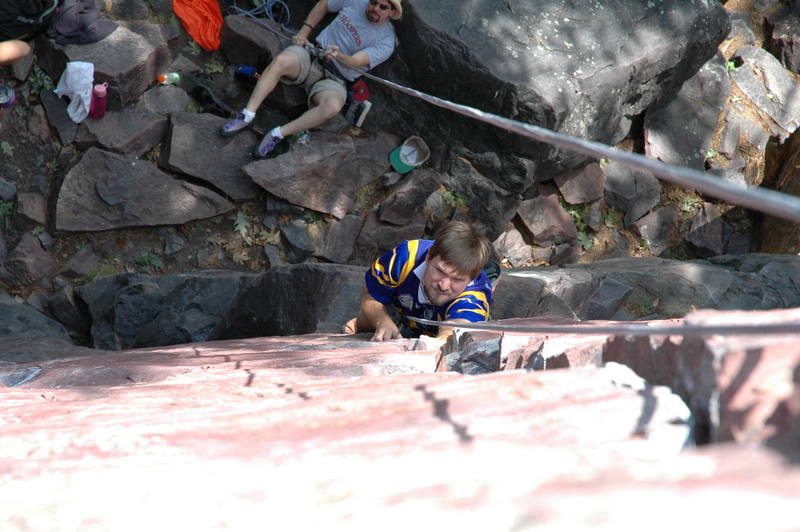 Look at the determination on his face working on <br> Birch Tree Crack.Photo by: Colin Erskine