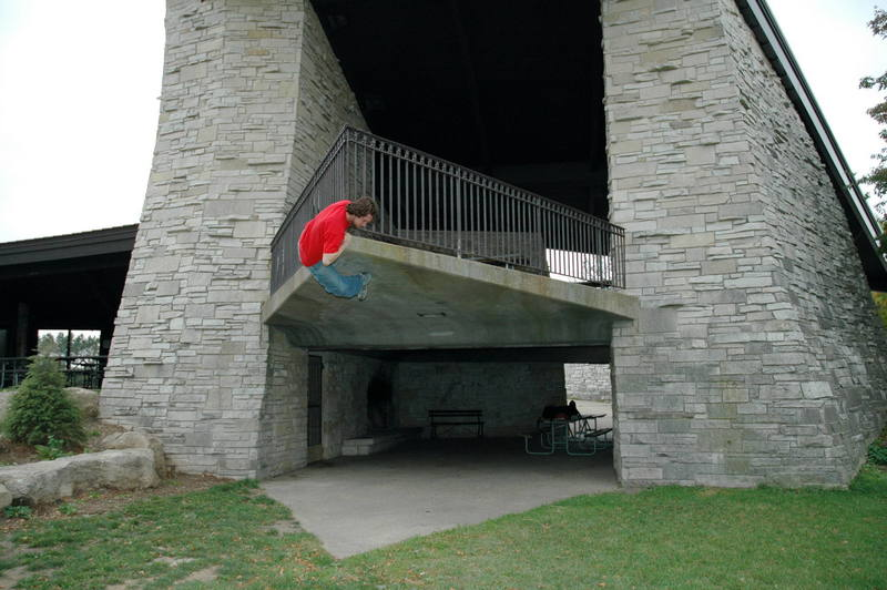 Graner park shelter: Photo by Colin, and also <br> Climber is myself (colin erskine)<br> Its good.  try not to use the railing to get up.