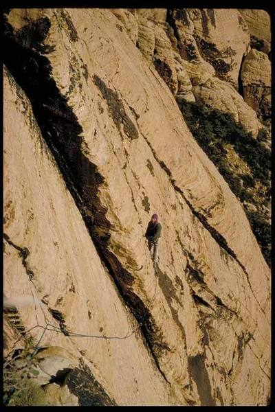 Tom Kaufman on the first ascent of Solar Slab, January 1975.
