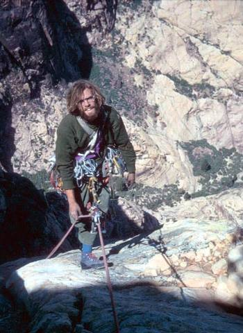 Joe Herbst on pitch 13, first ascent of the Rainbow Wall.