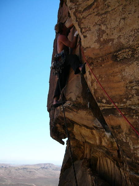 The start of the crux moves on the 2nd pitch