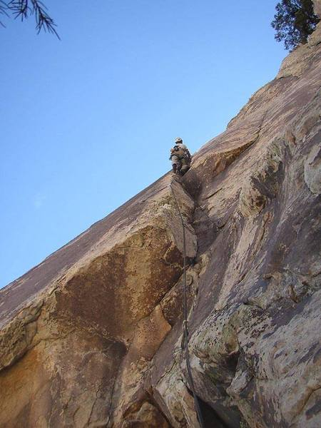 Gaining the clean jam crack on pitch 3 of Balancing Act.