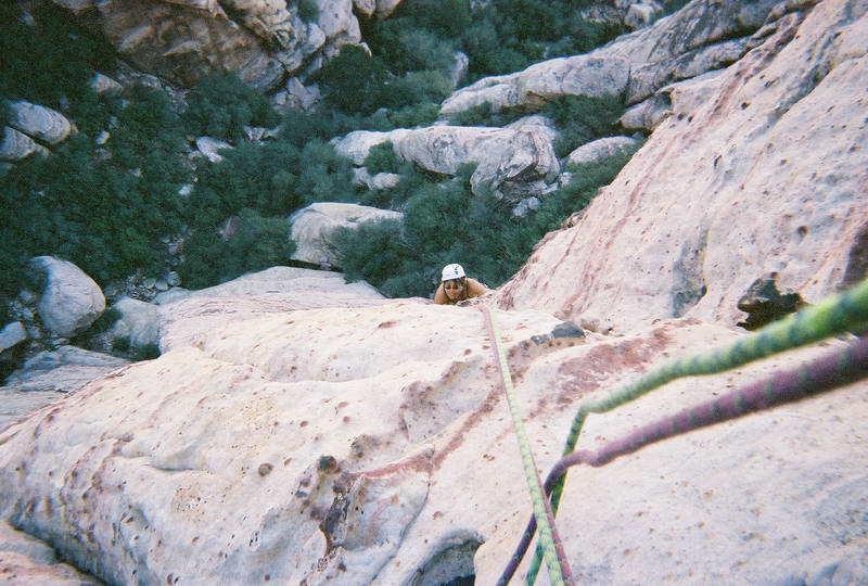 Debbie Zois climbing the second pitch.