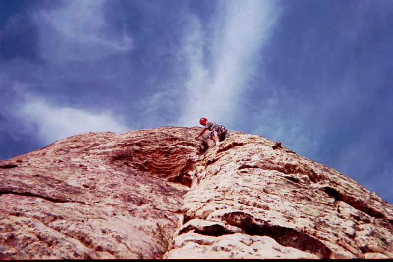Josh Owen leading on the Northeast Arete.