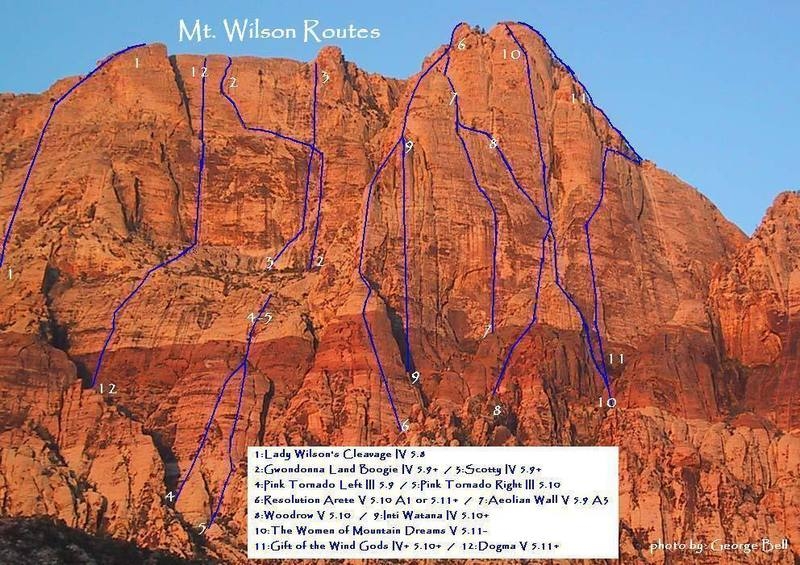 A layout of the major climbing routes on Mt. Wilson. Photo by George Bell