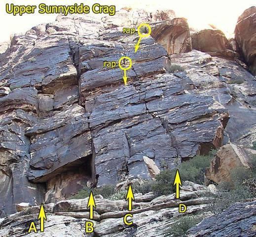 Upper Sunnyside Crag;  A=Hot Time, B=Gourmet Miel, C=Good-Time Charlie, D=Drat Crack