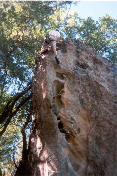 The last move of Donkey Dong.  Perhaps my greatest sport climbing feat to date.