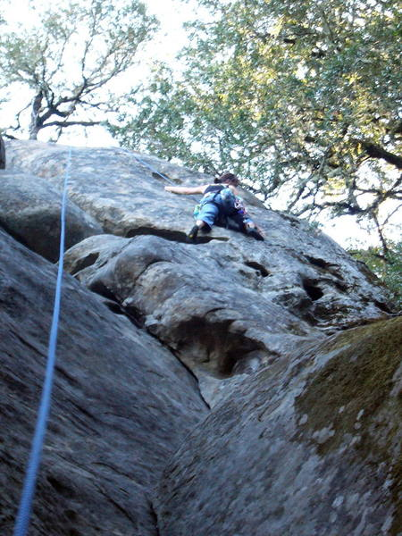 Sallie, high up about to attempt the crux moves.