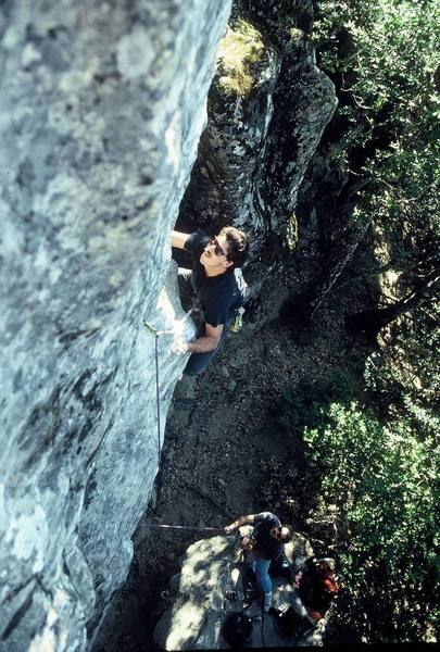 """Brad Watson on the FA of """"Skill Saw Gourmet"""" (5.11d) named to honor the late Jeffrey Dahlmer. The pumpy part is where you might take a fall."""