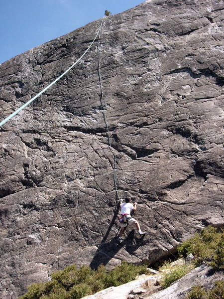 Joe starting up Sundaze with route clearly shown above.  This start was actually not the correct start which is a bit to the left where the bolts are which Paul completely did not see!