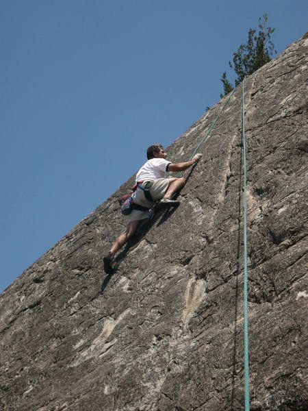 Joe LaBarbera on the thin upper crux of Captain Cheese Dog.