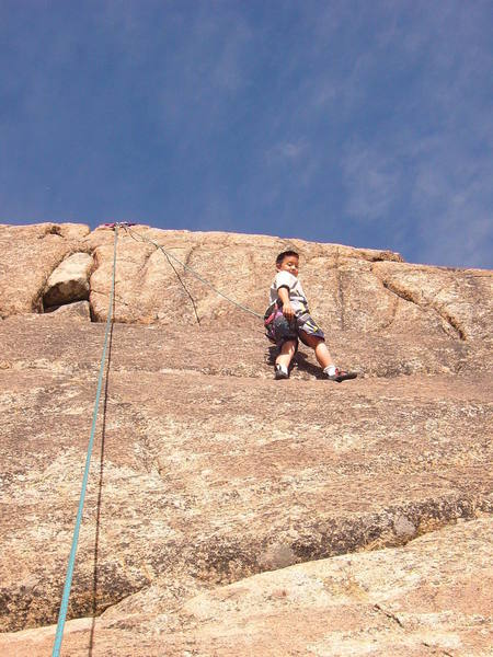 Ilia choosing to test out his friction boots on one of the slabby sections on practice slab below School Rock.