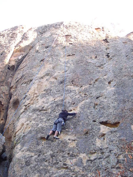 Sallie getting more comfortable on the loose rock.