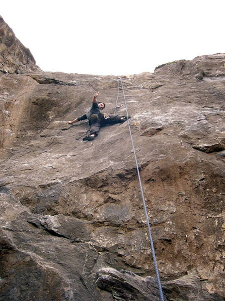I don't think I've ever climbed with someone who enjoyed himself so much.  The climbs crux is just up and right of Joe.