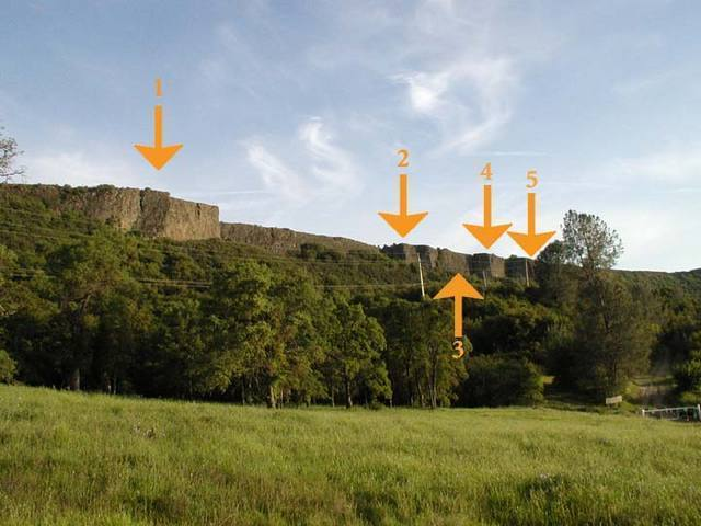 1) The Fissures <br> 2) Mid-Wall <br> 3) The Eastern Front <br> 4) The Grotto <br> 5) The Welcome Wall